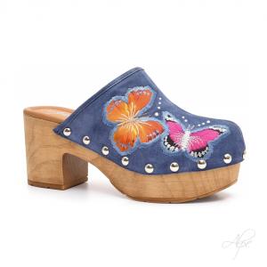 Zuecos Azul mariposas